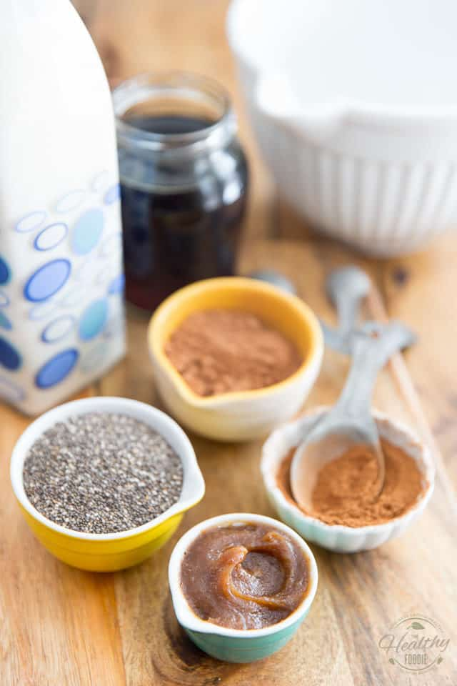 Overhead view of the ingredients needed to make the chia pudding