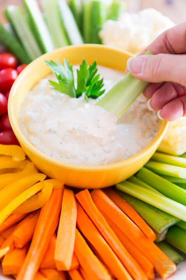 Creamy, tangy, bursting with flavor, this Vegan Creamy Ranch Dressing will instantly become your fresh veggies' best friend, and the star of any party it gets invited to!