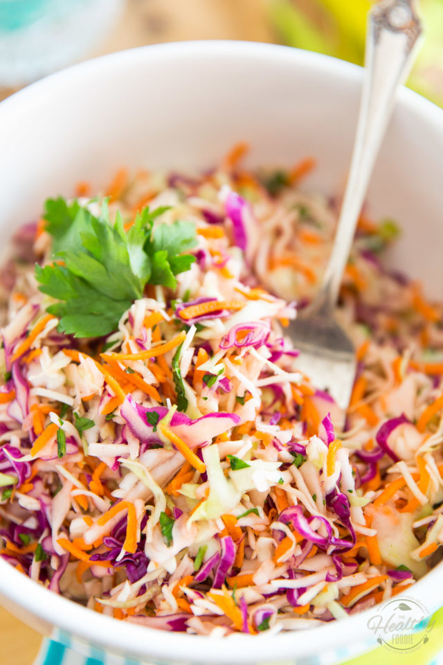 Making your own Classic Coleslaw at home is so easy! This one tastes just like the stuff you buy at the store but is so much better for your health! Try it once, you'll never go back...