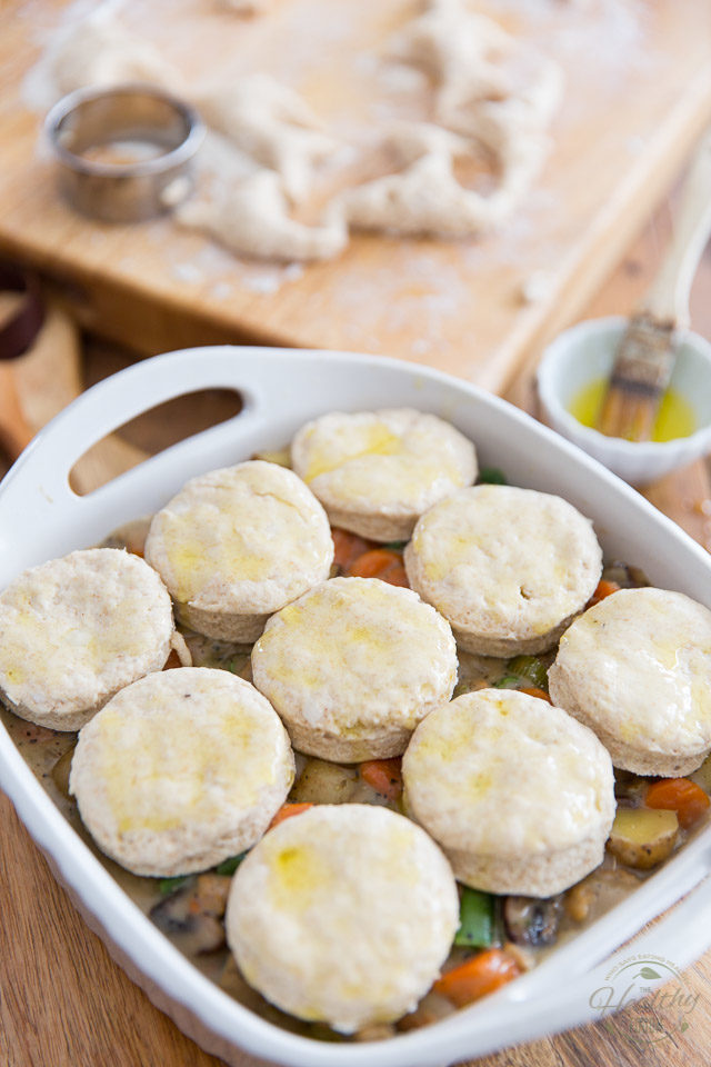 Arrange the biscuits on top of the vegetable mixture