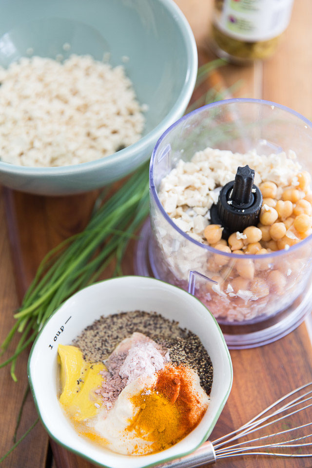 Overhead view of the ingredients needed to make the egg salad