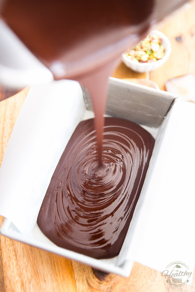 Pouring the fudge mixture in the prepared pan