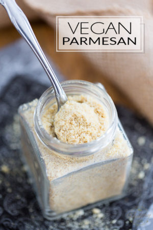 """This 5 ingredient Vegan Parmesan only takes 2 minutes to make, and it's so crazy tasty, you'll want to sprinkle it on everything! Think """"nooch"""" to the 10th power!"""