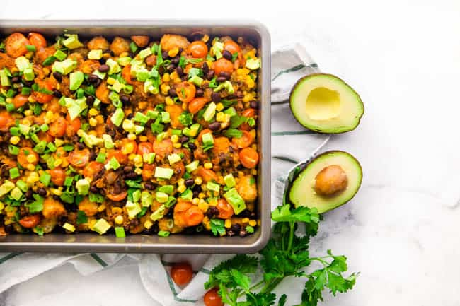 Vegan Totchos are perfect for the big game, movie night, or any get together where you need yummy comfort food