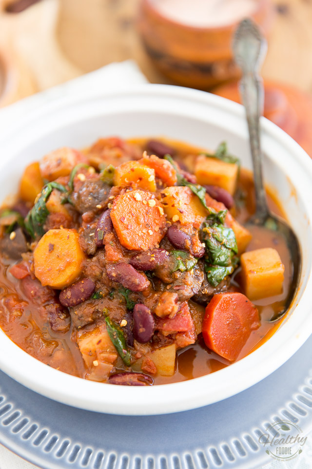 This Comforting Vegan Stew is super easy to make and only uses super simple ingredients that you probably keep in your fridge and pantry all the time...